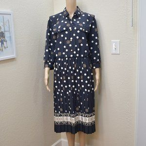 80s Sailor Button-front Pleated Dress 8